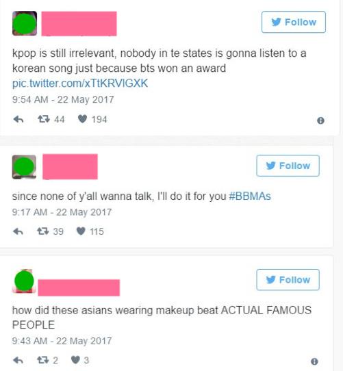 因為在防彈少年團得獎之後,推特瞬間爆出了不少困惑「那些亞州人是誰?」、「K-pop誰要聽啊?」的歧視推文。