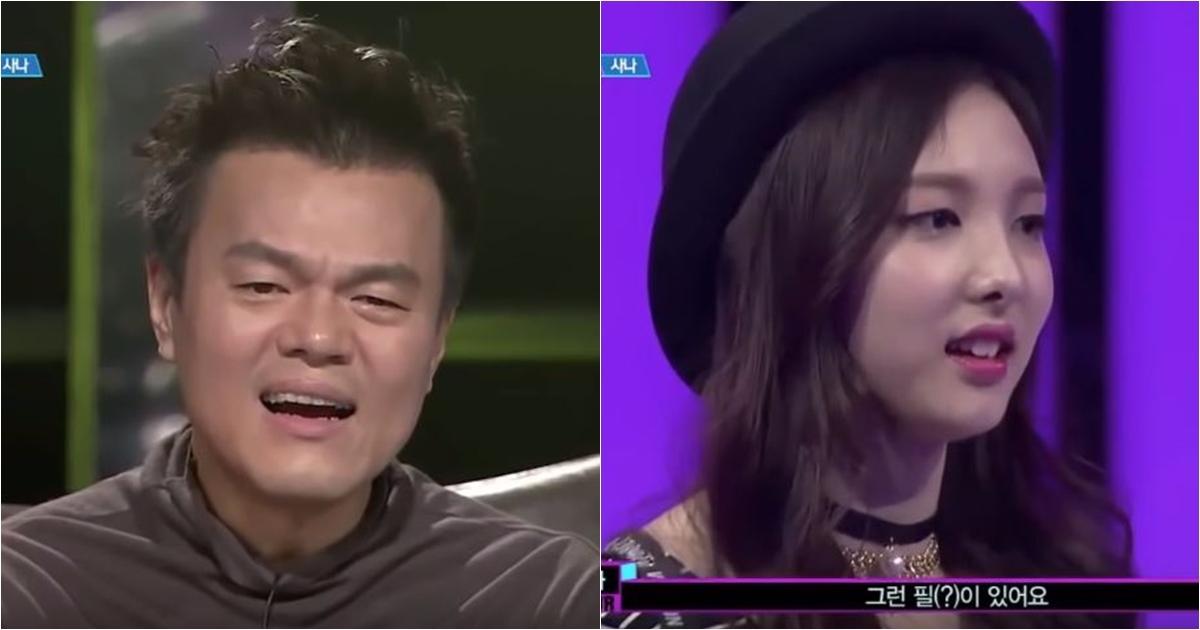 不只JYP第一眼看到的時候露出了「JYP問號」的表情,看著Sana進公司,從練習生時期就已經知道Sana真的是「四次元」的娜璉甚至還忍不住「嘆氣」XDDD…就要知道大家對Sana的表演有多無奈