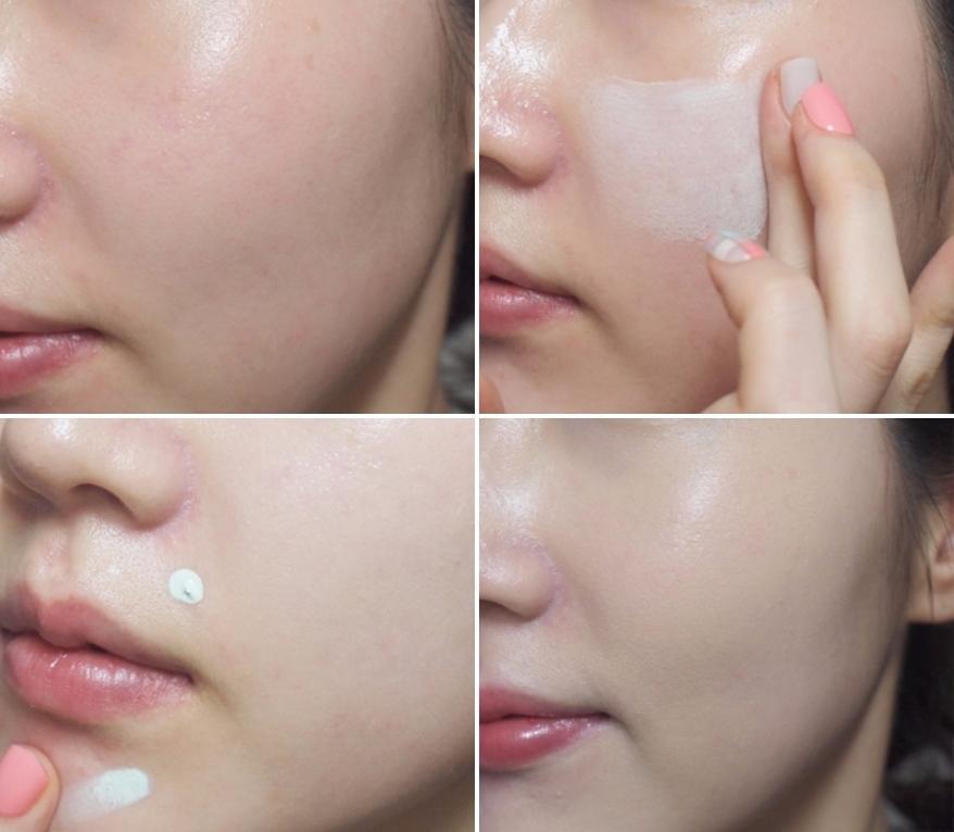 使用前原本整張臉都因為過敏泛紅,單用綠色飾底乳就差那麼多!另外像是一些紅痘痘在化妝前也可以用它先遮起來,後續就不用做太多遮瑕!