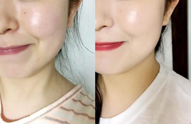 上在臉上的妝感根本是輕透均勻又遮瑕!不說絕對會讓人以為右邊那張圖就是素顏XD