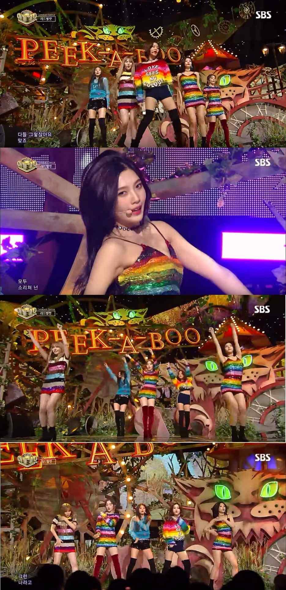 而從預告中公開後就一直受到粉絲注意的彩虹亮片裝,也在上一週的《人氣歌謠》中正式出場啦!(笑) 不過雖然大家都認為很漂亮,但是JOY的裙子卻讓觀看節目的粉絲一直處於戰戰兢兢的狀態,因為實在是有些太性感ㅠㅠ 隨著激烈的舞蹈動作的拉扯,JOY的裙子也變得越來越短,有幾度甚至比安全褲還短,讓粉絲們超級緊張的啊! 而即便服裝的問題,JOY依舊完美的地完成了舞台。