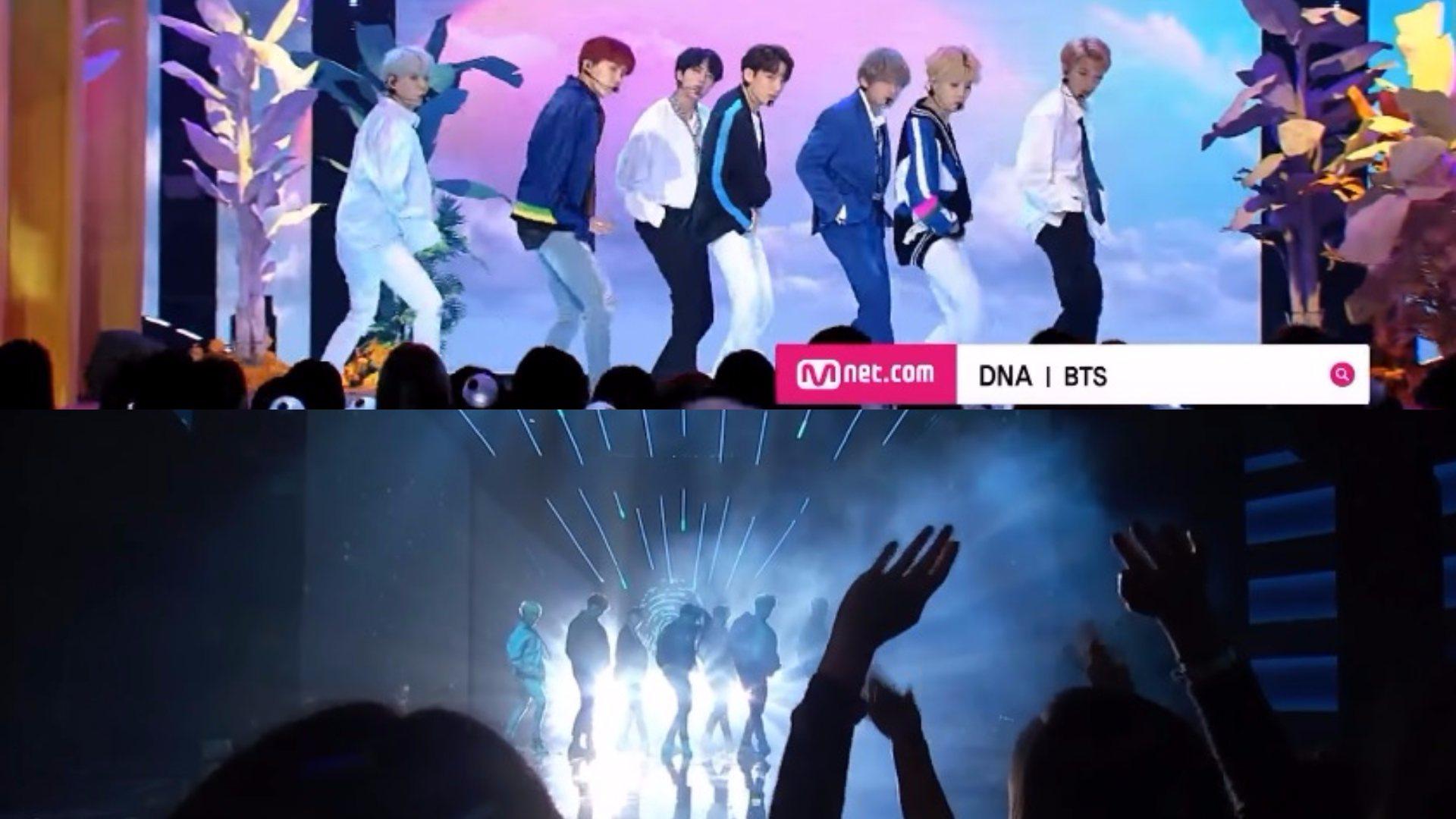 上面是MNET的DNA歌曲一開始的運鏡 下面是美國AMA的運鏡 同樣下面有粉絲的情況下 韓國運鏡明顯清楚
