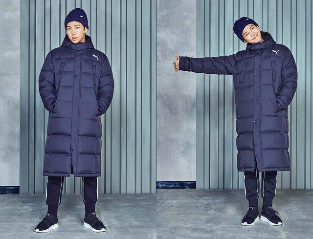 BTS的最長身RM穿著代言的長版羽絨外套 比例依然好!!!