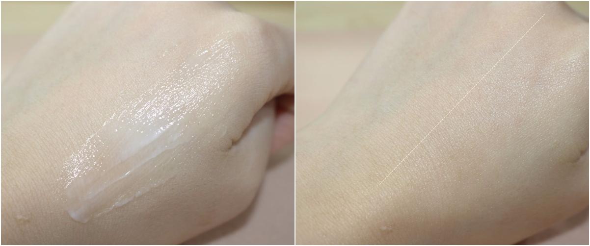 塗抹起來也是一樣乳霜狀,但是塗抹後不黏膩,也沒有油油的感覺,很快就會被肌膚吸收。