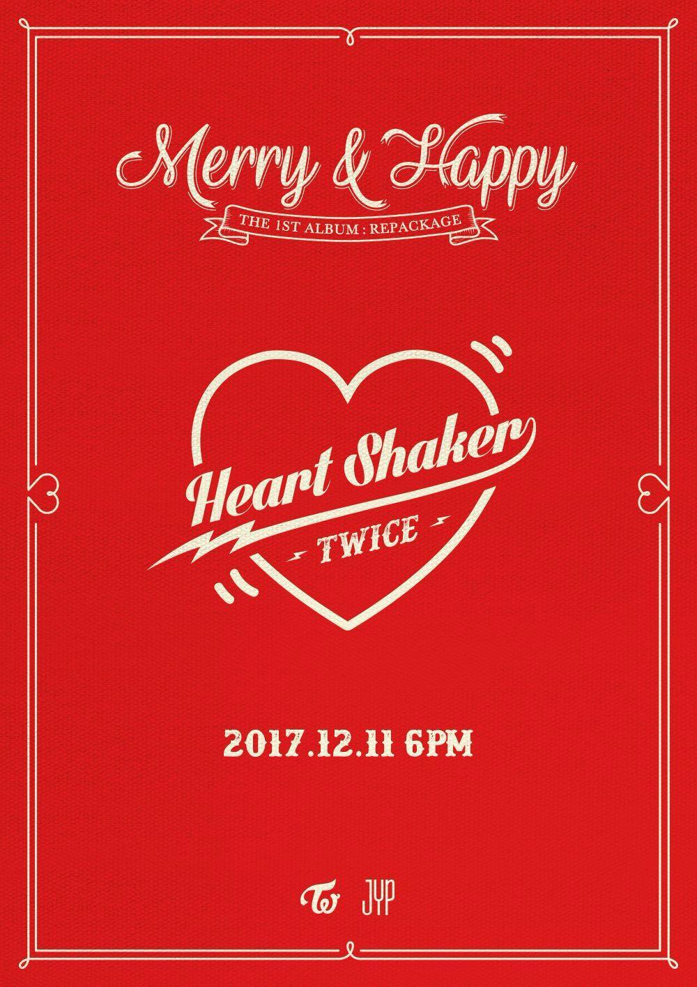 晚上立刻迎來《LIKEY》後續曲即將在12月11日發行的消息!!!!這次後續曲專輯名稱為《Merry&Happy》正好符合12月聖誕節的氣氛,主打歌《Heart Shaker》更是延續《LIKELY》愛心符號的概念!不過,其實早在《LIKELY》MV裡面就出現過《Heart Shaker》的名稱囉~~
