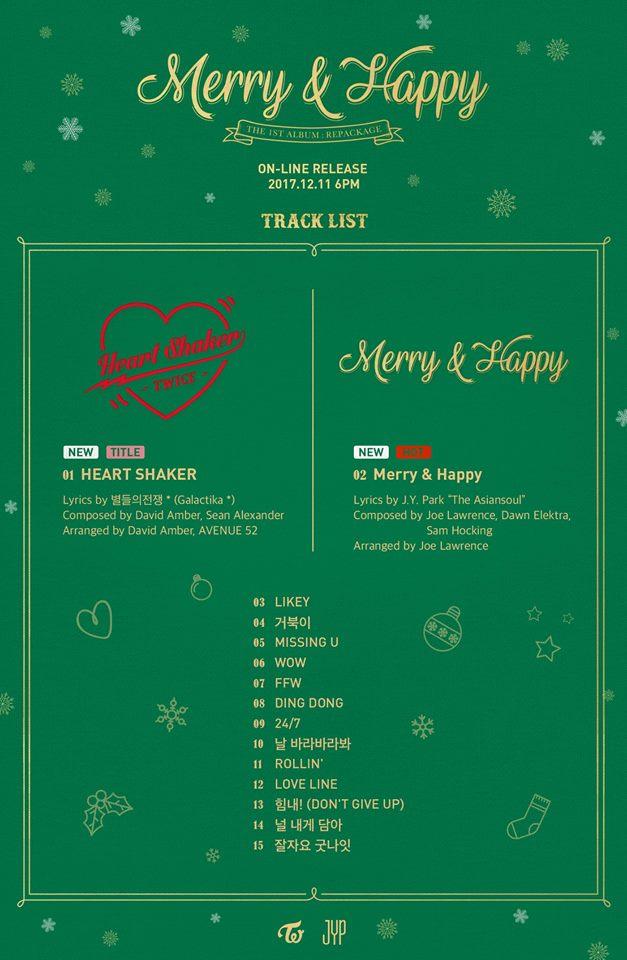 這次後續曲專輯名稱為《Merry&Happy》正好符合12月聖誕節的氣氛,主打歌《Heart Shaker》更是延續《LIKELY》愛心符號的概念!