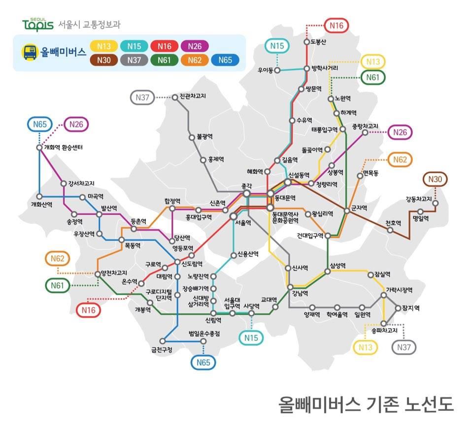 首爾為了深夜晚歸的市民們,開設了夜間路線的深夜公車。而這一系列公車有可愛的名字,叫做「貓頭鷹公車」,N開頭系列的車班在凌晨12點~3點行駛