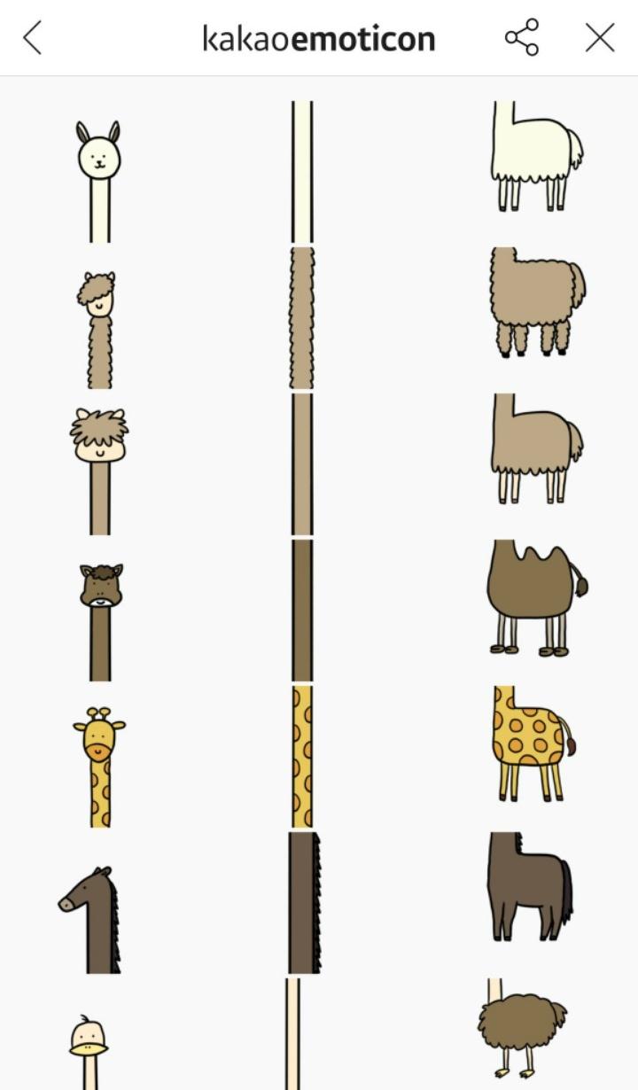 這組貼圖總共約有45張左右,就是由頭部、長長脖子跟身體組成,不只有大家想得到的長頸鹿,還有駱馬、羊駝、長頸鹿和鴕鳥等動物…,因為實在讓人「廢到笑」在韓國爆紅