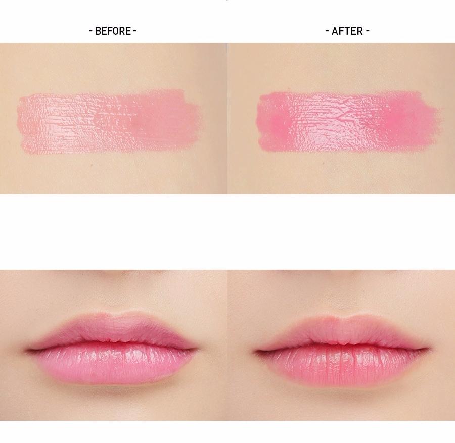 最淡的#TINTED PINK添加了特殊成分,會隨著每個人嘴唇的pH值不一樣而呈現不一樣的粉紅色,顏色看起來粉嫩又自然~