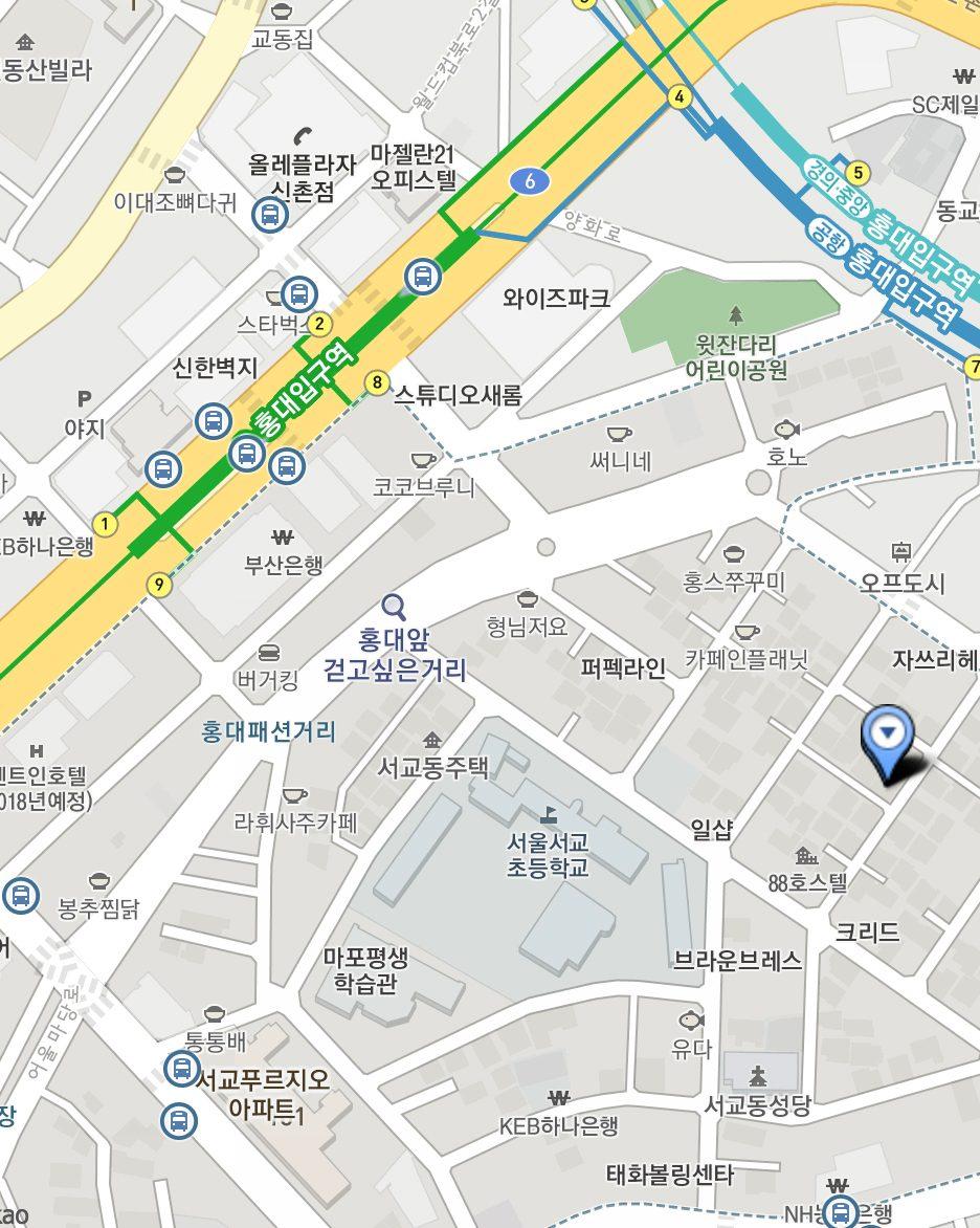 最後附上餐廳位置的地址和地圖:서울시 마포구 와우산로29라길 16 。小編喜歡從9號出口開始走,大概10~15分鐘就會到了,沿路也可以順便逛逛弘大巷弄間的小店喔!