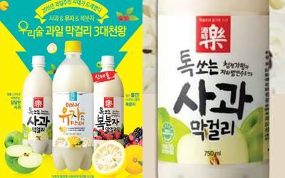 4) Woorisol 蘋果米酒 酒精含量:6% 以天然蘋果果汁釀造的很爽口