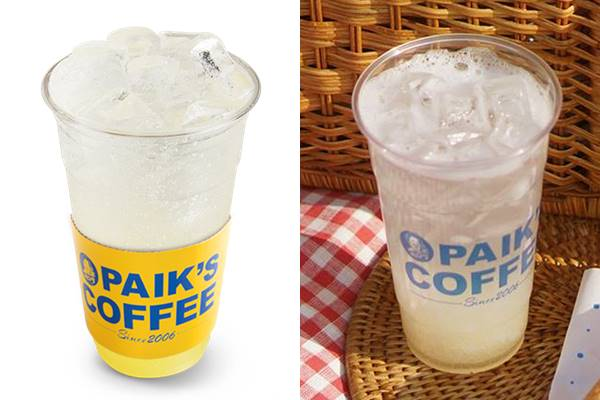 最近PAIK'S COFFEE推出了幫助解決宿醉問題的飲料 - '梨子氣泡水',那麼大杯才3,500韓元 (約台幣96元)
