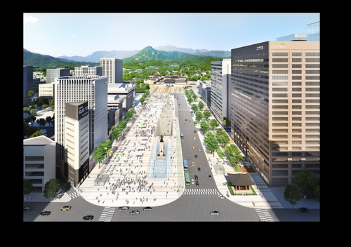 現在光化門前的長廣場將把原先到道路,一邊擴張為人行步道,用來增加訪韓旅客及市民的休閒空間。