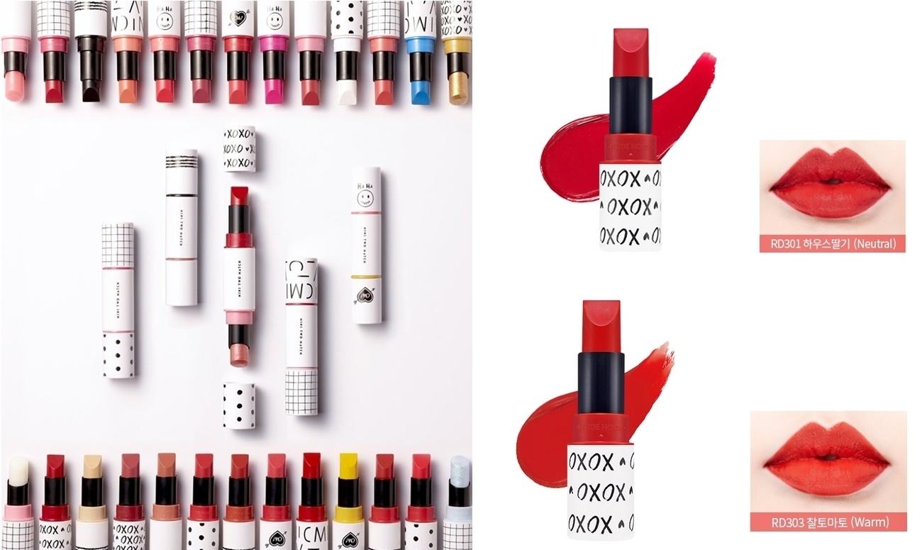 這支唇膏的特別之處就在於中間的磁吸式設計,可以結合2隻唇膏,這樣出門就只要帶一隻就好,超級方便!JOY的色號都是比較明顯的紅色系,擦上去有一秒顯白的效果喔~