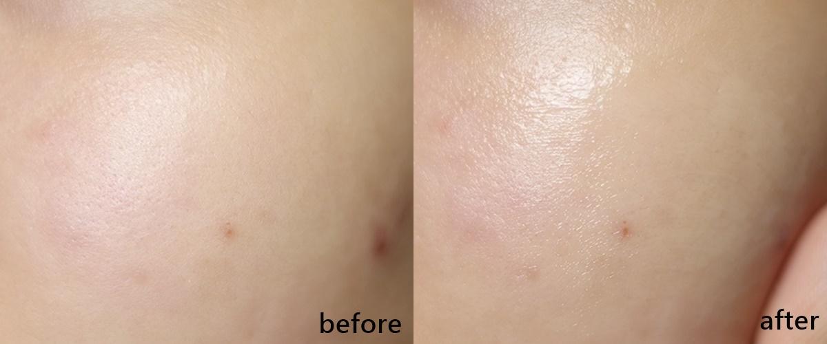 但兩款推開來後效果其實差不多,使用前後都是讓肌膚變得更為水潤、穩定,肌膚的光澤度大大提升,甚至還有偷偷美白的幫助啊!