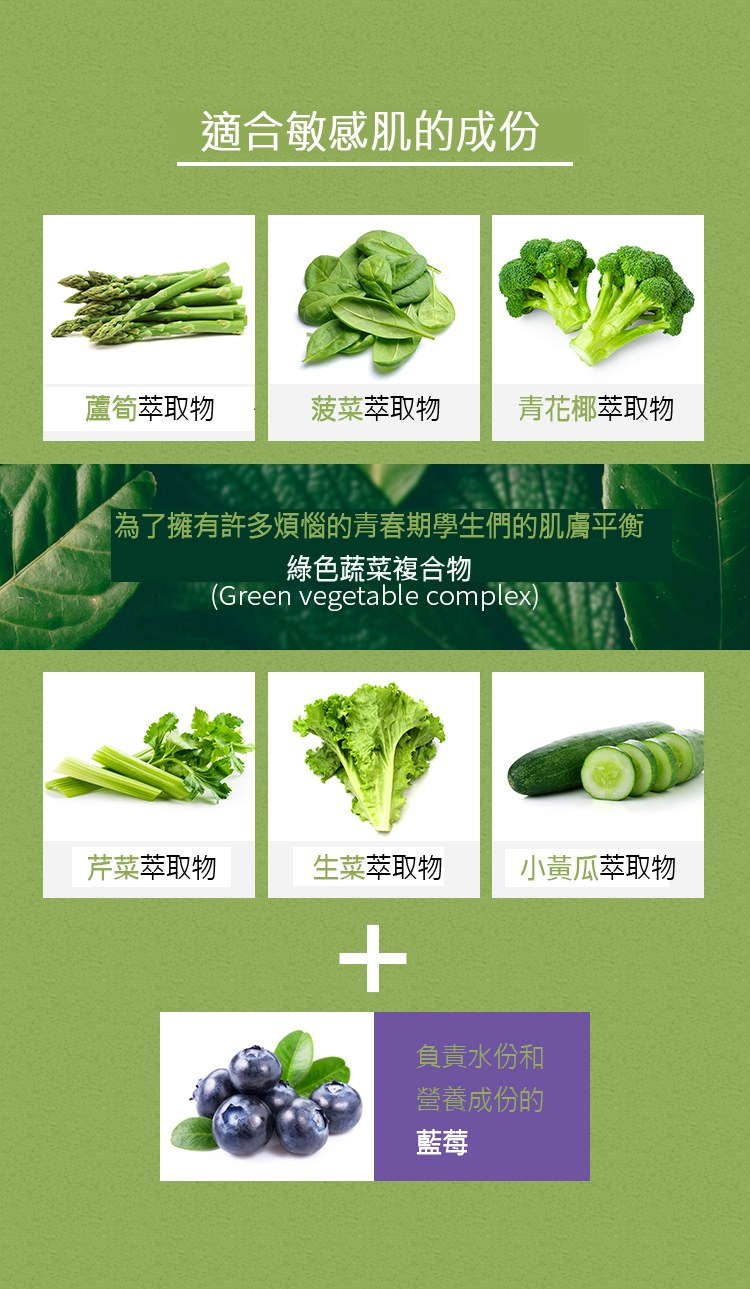 這三款其實敏感肌都能使用,因為添加了不少自然的成分,甚至還有很多綠色蔬菜複合物,對於年輕的肌膚來說是很好的保養,自己不常吃菜,肌膚也要讓他吃足才行啊~