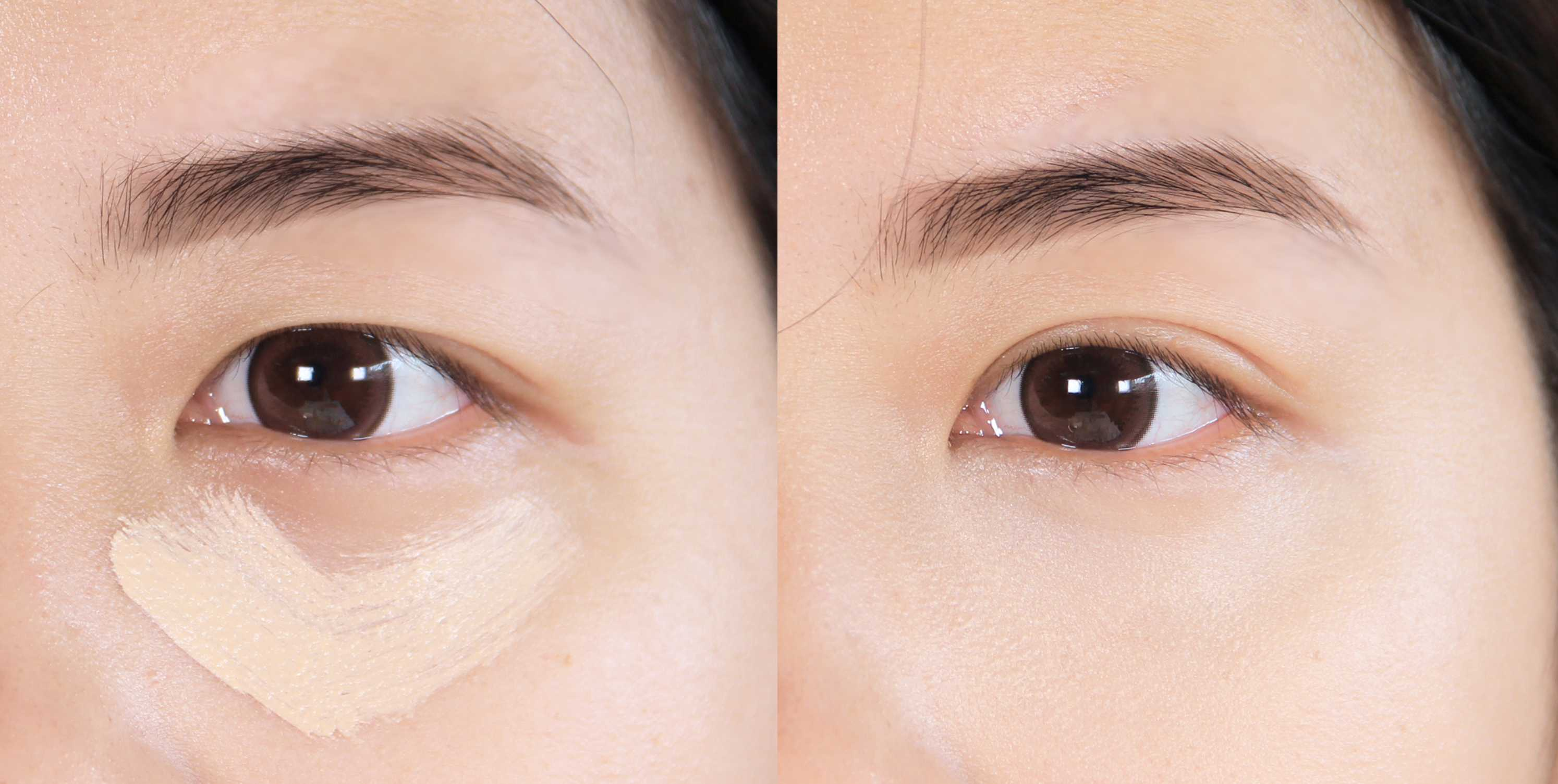 而如果是黑眼圈比較嚴重、或是想追求更高遮瑕度的完美妝感,可以把點壓方式改成直接塗抹上妝,遮瑕力就會大大的提升!