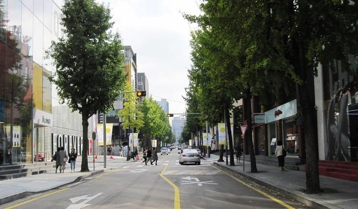 3. 新沙洞 - 42.3% 有藝術家街道之稱,街道兩旁有許多咖啡廳跟餐廳,再往小巷裡走有不少網美最愛的咖啡廳,秋天的時候,兩旁銀杏樹落葉散落一地,吸引不少觀光客,也是韓國年輕人小聚的熱門地點!