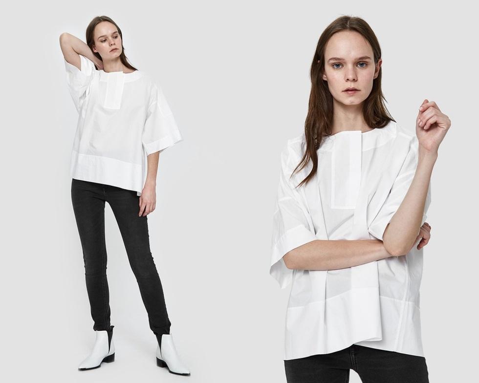 除了酷帥風格之外,ACNE Studios也推出適合上班的白色上衣,寬袖的剪裁設計,搭上一雙稍反光的皮革跟鞋,這樣去上班絕對是目光焦點。