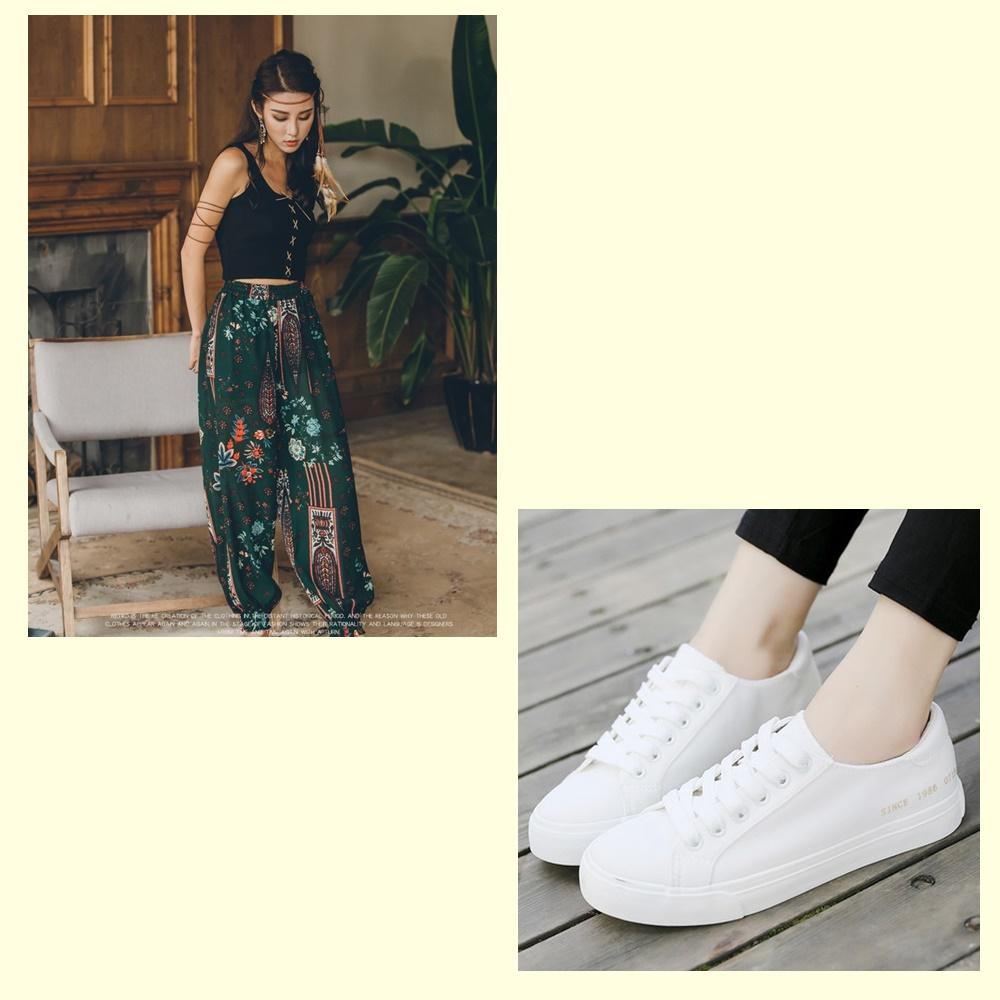 >球鞋+波西米亞風穿搭: 波西米亞風的穿搭非常具有特色,這種民族風情配上運動款球鞋其實不太搭,建議可以搭配涼鞋會比較好看喔!