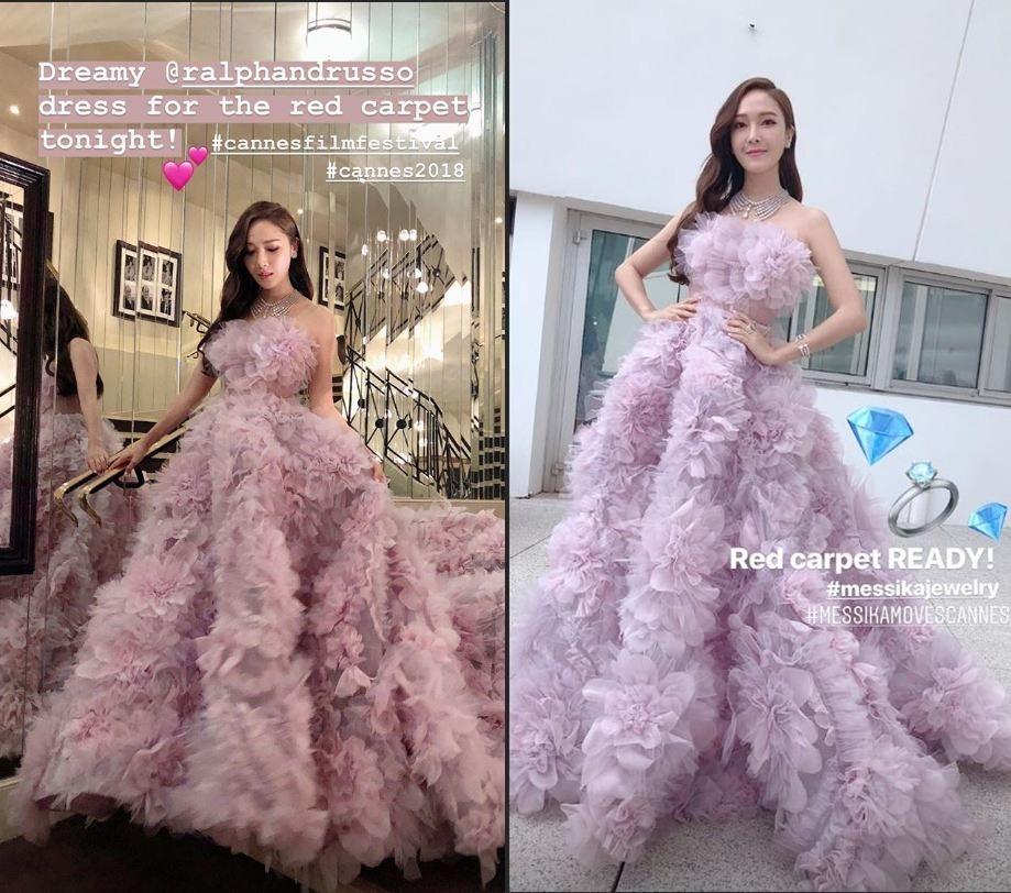 而潔西卡的Ralph & Russo的粉紫色長紗禮服真的是超級美麗的啊~ 完全就是童話裡面的公主造型~