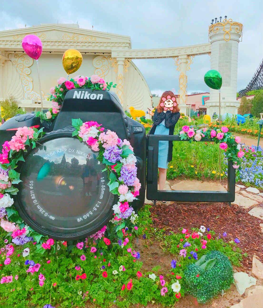與過往最不同的地方,今年愛寶樂園與Nikon合作,將鬱金香花園裡很多景點都設計成特別的拍攝熱點,大受遊客歡迎!