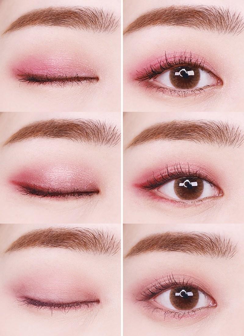 顏色搭配上從鮮豔的顏色到淡妝也都能搭配。喜歡淡妝的女孩,可以利用眼影盤中的霧面粉色和深咖啡色做搭配,利用深咖啡色畫出眼線就可以製造眼妝的柔和感。喜歡妝感比較強烈的女孩,則是可以利用亮粉色和紅色做出搭配,只要畫在下眼線的位置作點綴,眼妝不會太過濃烈但是卻很有溫柔氣息呢~