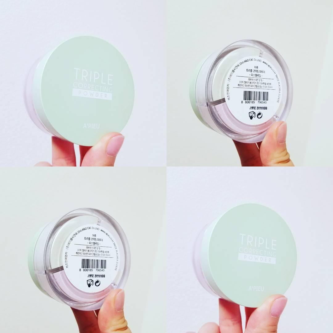 第一個要介紹給大家的定妝神器是:A'PIEU三色柔膚校色蜜粉。
