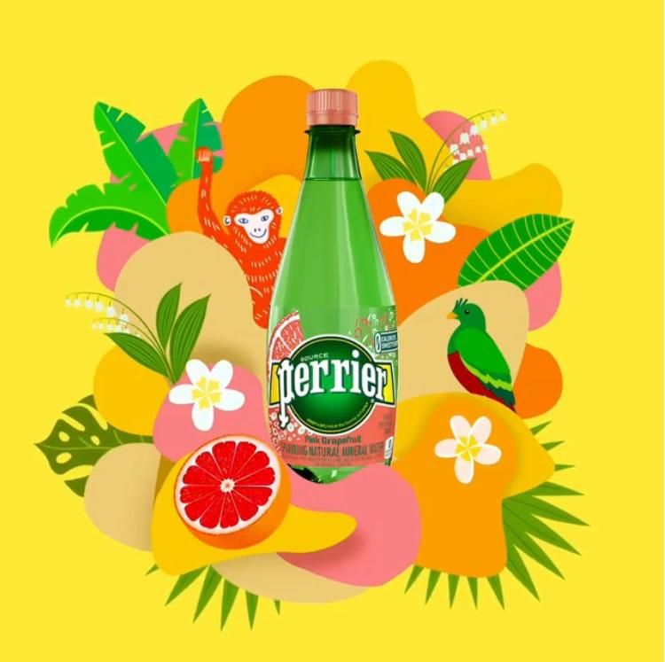 >法國Perrier 氣泡天然礦泉水-葡萄柚口味: 法國Perrier 氣泡水的水源來自庇里牛斯山,深綠色的外包裝也是令人印象深刻的特點之一,這次除了葡萄柚口味之外還有西瓜、檸檬、桃子口味。不僅口味多元,可愛活潑的視覺包裝也是讓人手癢購入的原因之一啊~