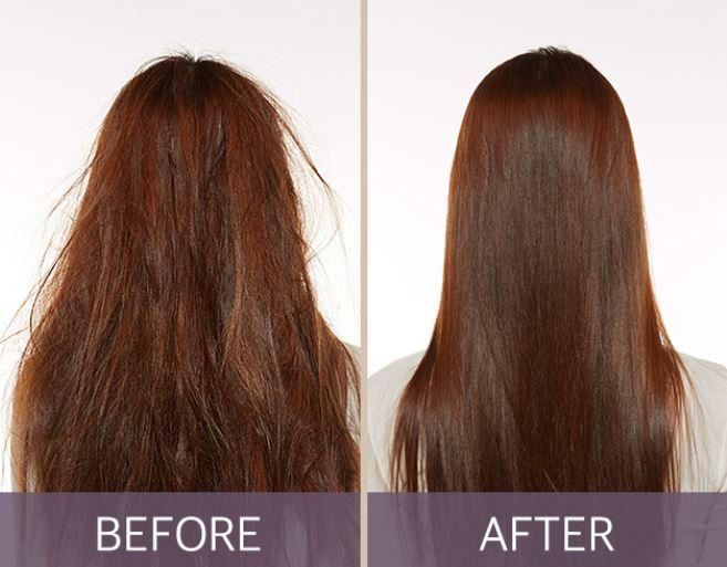 看看這驚人的效果!原本雜亂毛躁的頭髮,在用完蛋白質蒸氣護髮帽之後瞬間滑順又充滿光澤!這真的是必敗好物啊!