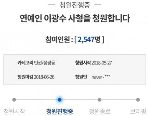 甚至因為近來光洙在節目上的表現,而出現不理性的網友上青瓦台請願「對藝人李光洙處以死刑」。