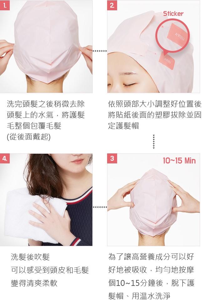 這款護髮帽的使用方法很簡單:就按照以上這4個步驟使用就可以囉!