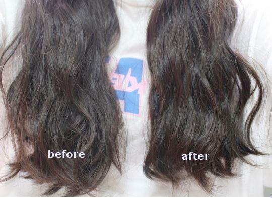 鏘鏘!右邊是使用過後的效果,是不是明顯比左邊頭髮滑順柔亮!但因為護髮膜的材質比較滋潤,一個禮拜使用1-2次就可以囉~但記得每週都要堅持使用不偷懶,效果才會更明顯喔!