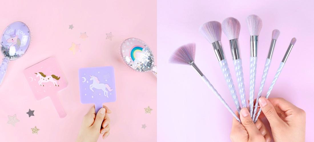 不僅如此,就連化妝道具也都推出一系列的獨角獸款,像是手拿鏡、刷具等,漂亮又有質感,重點是價格也只要