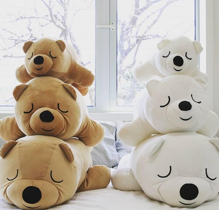 最後就是軟軟萌萌的抱枕小熊啦~有三種不同大小,兩種顏色的小熊,真想六隻一起帶回家! 但前提是家裡要夠放...
