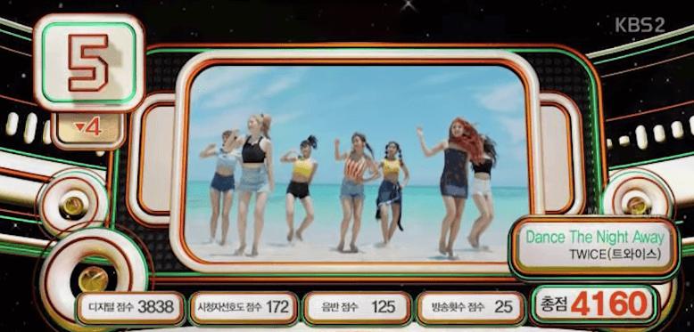 電視或電台播放數決定的放送分果然也 拿到比沒上KBS的YG歌手還少的分數 其實八月首周播放次數就109回 是壓倒性的一位