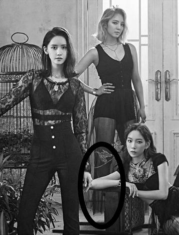 日前SM娛樂也釋出「少女時代-OH! GG」最新回歸照,照片公開後也引起各界的關心及討論,不過卻有眼尖的粉絲發現成員孝淵的「右腿」消失了?網友也推測大概是技術人員修圖沒修好而導致!
