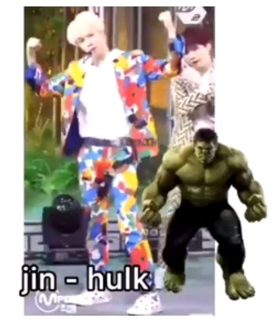 #Jin Jin的這個姿勢被解讀成綠巨人浩克,粉絲們覺得像嗎?ㅋㅋㅋ 小編是覺得Jin實在是太瘦了阿!