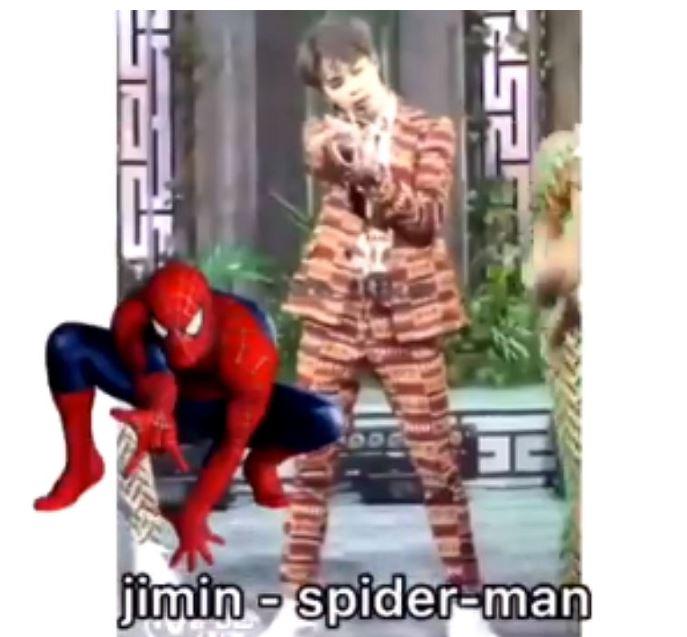 #Jimin Jimin的也很好猜,就是蜘蛛人! 連衣服顏色好像都有搭配到(?)