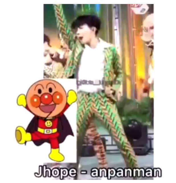 #J-hope J-hope就是一個超人起飛的姿勢,網友把他解讀成麵包超人~ 是不是很可愛呢?