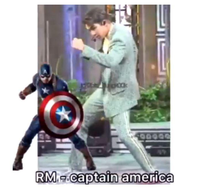 #RM RM則是被解讀成美國隊長! 少了盾牌的隊長瞬間沒有殺傷力阿~
