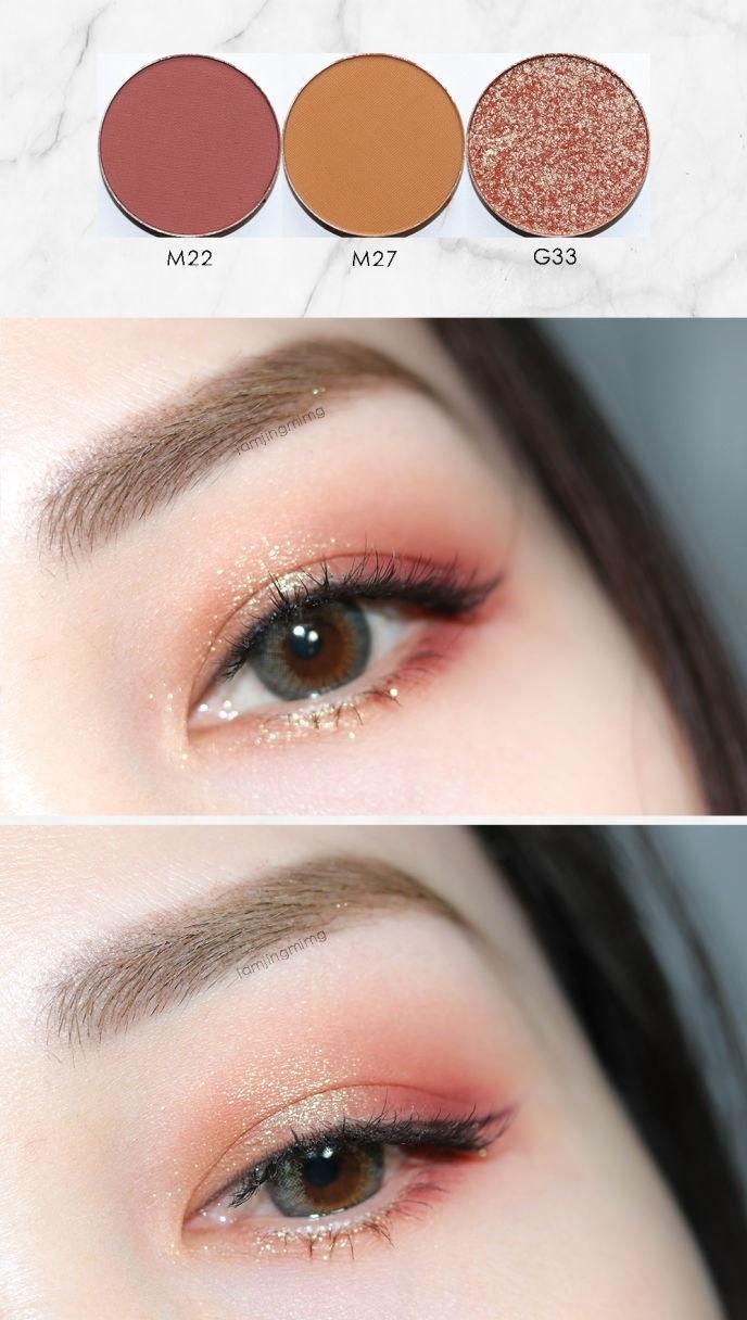 用3顆眼影就可以畫出這麼美的眼妝,這樣算下來1個眼妝還不到台幣300塊啊!(這什麼計算法XD) 撇開有細緻光澤的亮片眼影不談,光是霧面眼影暈染出的妝效就相當漂亮,也沒有奇怪的色塊產生,隨便抹隨便美><