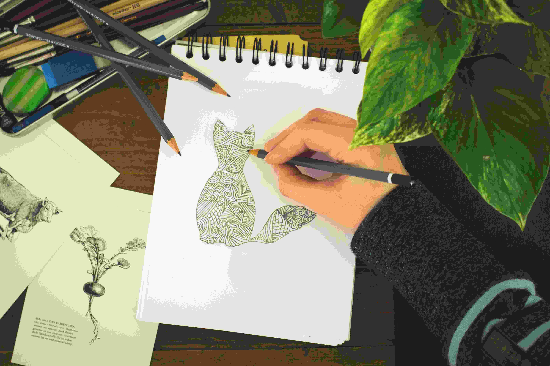 4.假讀書,真塗鴉 為了解決數學問題準備了空白紙,但是讀書無法集中的時候空白紙就變身為塗鴉紙了!在空白紙上畫滿平常喜歡的東西可以舒緩壓力。