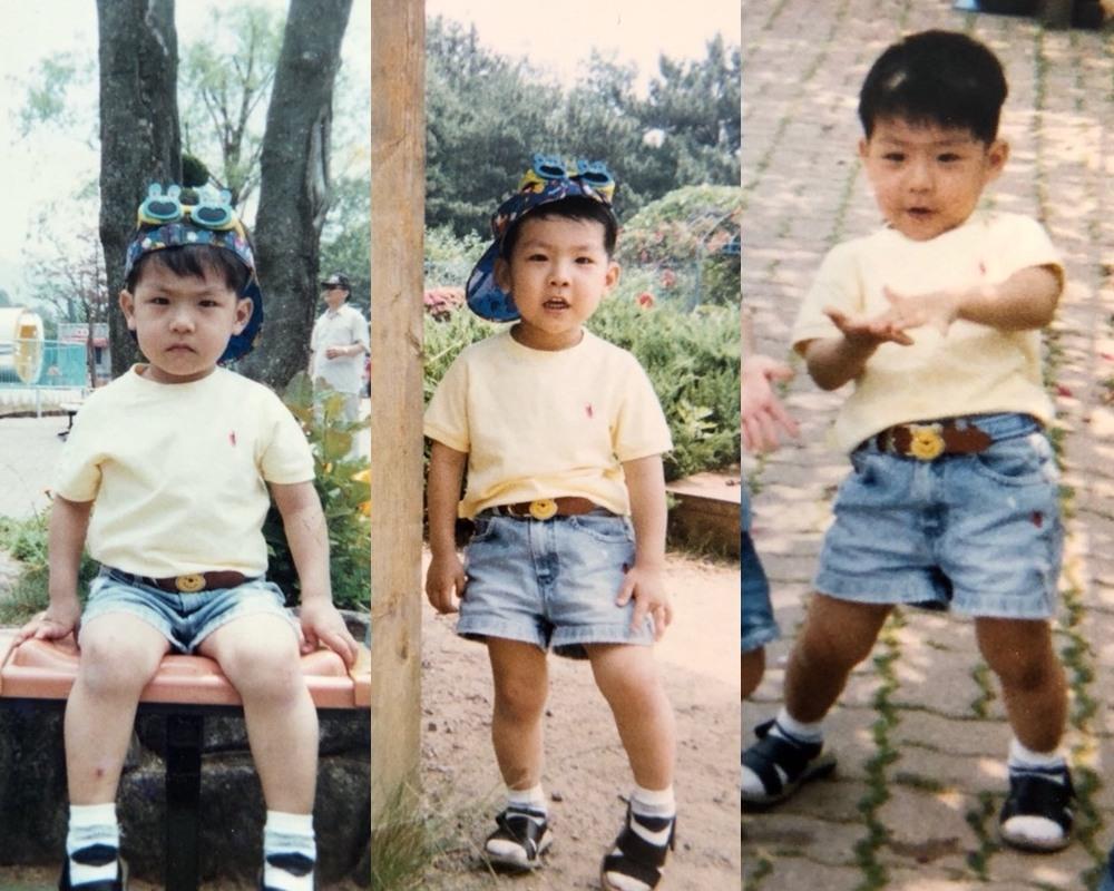 第三組的照片裡,小男孩的穿搭充滿現代時尚感,本人看起來似乎是有個性又有點小調皮的男孩~