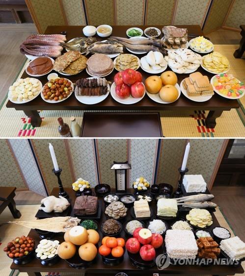 雖然南北韓皆以四行擺設的方式放置祭品,具體放置的飲食構成還是有些許不同,北韓以中國引進的食材來製作,水果並不會先切或削就直接擺設,還會放置糖果餅乾。咸鏡道地區(北韓地區)還會放置高梁或紅豆製成的煎餅及當地魚類食材。這些都與南韓不同。(上圖北韓、下圖南韓)