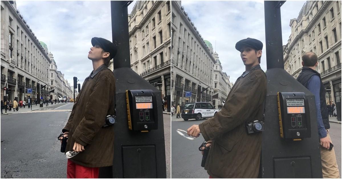 在倫敦大街上,V倚靠在紅綠燈的長柱上,微微嘟嘴的側臉和搞怪表情,想必粉絲看了也會忍不住偷笑! (ARMY內心小劇場之不負責任對白) ARMY:男友在發呆,來偷拍一下 V:喔~你剛偷拍我對不對