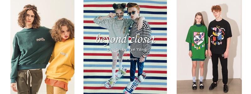 5、beyondcloset 韓國藝人的愛用品牌,也是推薦給喜愛街頭風格、不想被制式情侶穿搭框架住的各位。這個品牌看似難以親近,但它繽紛的色彩、特殊的設計剪裁和經典的狗頭圖案都讓它在韓國國內的人氣持續上揚,最近更是踏著首爾時裝周,將腳步邁向國際。