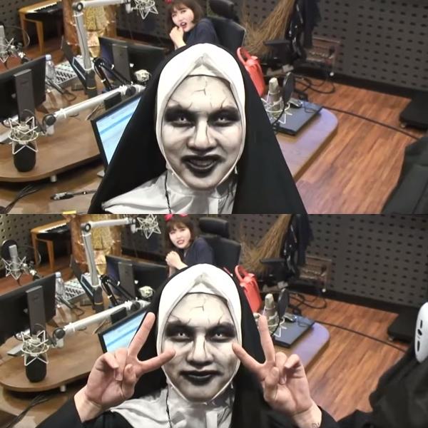 首先是會勝,裝扮成鬼修女的模樣超級逼真!已經完全看不出來本人是長什麼樣子了XD