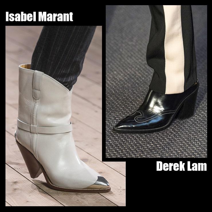 """隨着西部潮流的迅速發展,牛仔長靴成爲本季的""""重點鞋"""" 從美國西部時代開始發展的牛仔長靴,特點是尖鞋頭和高跟,還有充滿異國風情的縫線裝飾,本季公開多種設計款牛仔長靴,根據個人喜好搭配,可以完成自己屬於自己喜歡的風格,其中白色和黑色等單色牛仔靴可以搭配任何單品,造型上搭配黑色牛仔長靴的話,會比細高跟鞋更顯得有型帥氣!"""