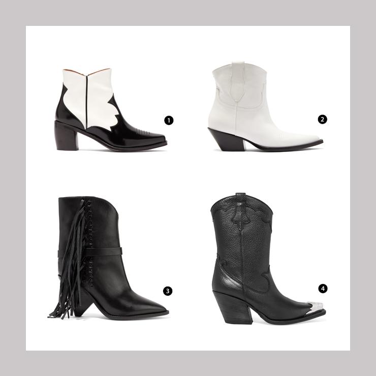 SHOPPING LIST: 1.Alexa Chung黑白設計的矮腰靴 2.Maison Margiela 簡約白色設計靴 3.ISABEL MARANT重點流蘇裝飾黑色短靴 4.McQ Alexander McQueen金屬前端魅力長靴